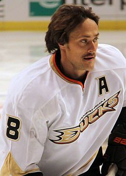 Teemu Selänne, Finnish ice hockey player, representing Anaheim Ducks. Also known as The Finnish Flash