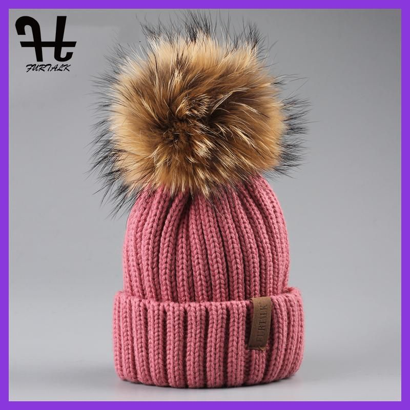 FURTALK Real Unisex Kids Ages 4-12 Raccoon Fur Ball Winter Hat Knitted Pom  Pom c681b527046b