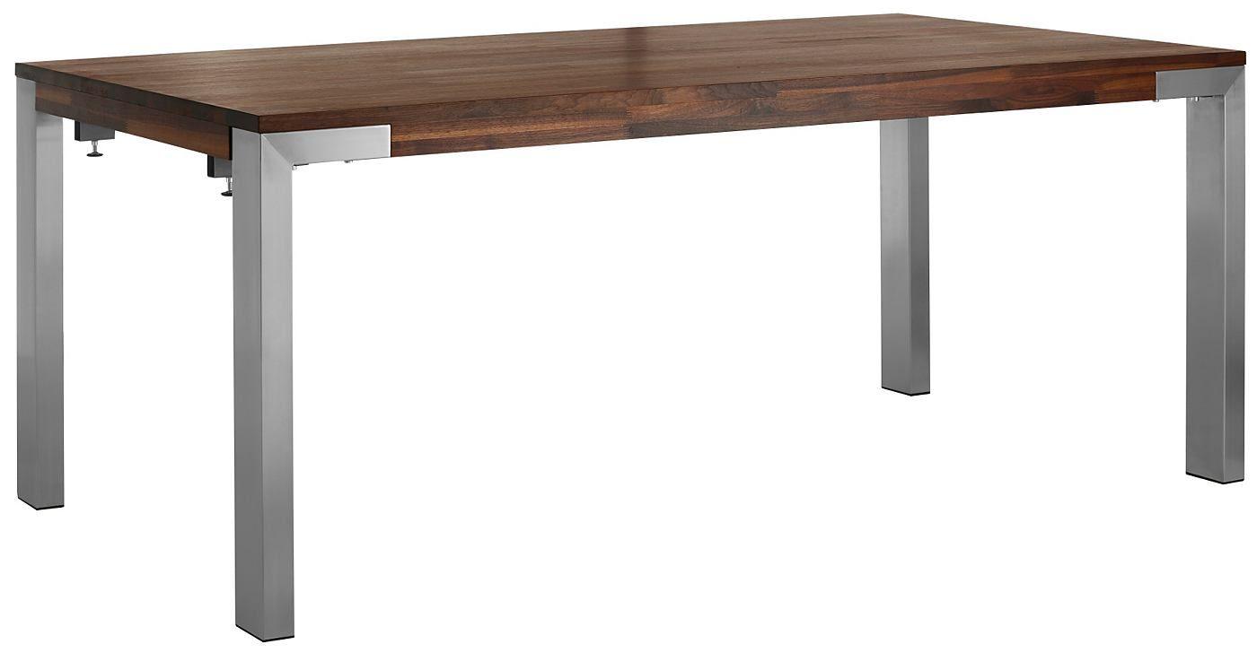 Die ansprechende Holzoptik strahlt natürliche Wärme aus. Der hochwertige Tisch wurde aus FSC®-zertifizierter, massiver Eiche oder Nussbaum gefertigt. Er ist verlängerbar auf bis zu 240 cm oder 260 cm mit 2 Ansteckplatten 50 cm lang. Die Plattenstärken 7,5 cm und der Fuss ist 10/5 cm stark und aus Edehlstahl. Das Produkt hat eine hochwertige Verarbeitund wie auch eine tolle Holzoptik.   Detail...