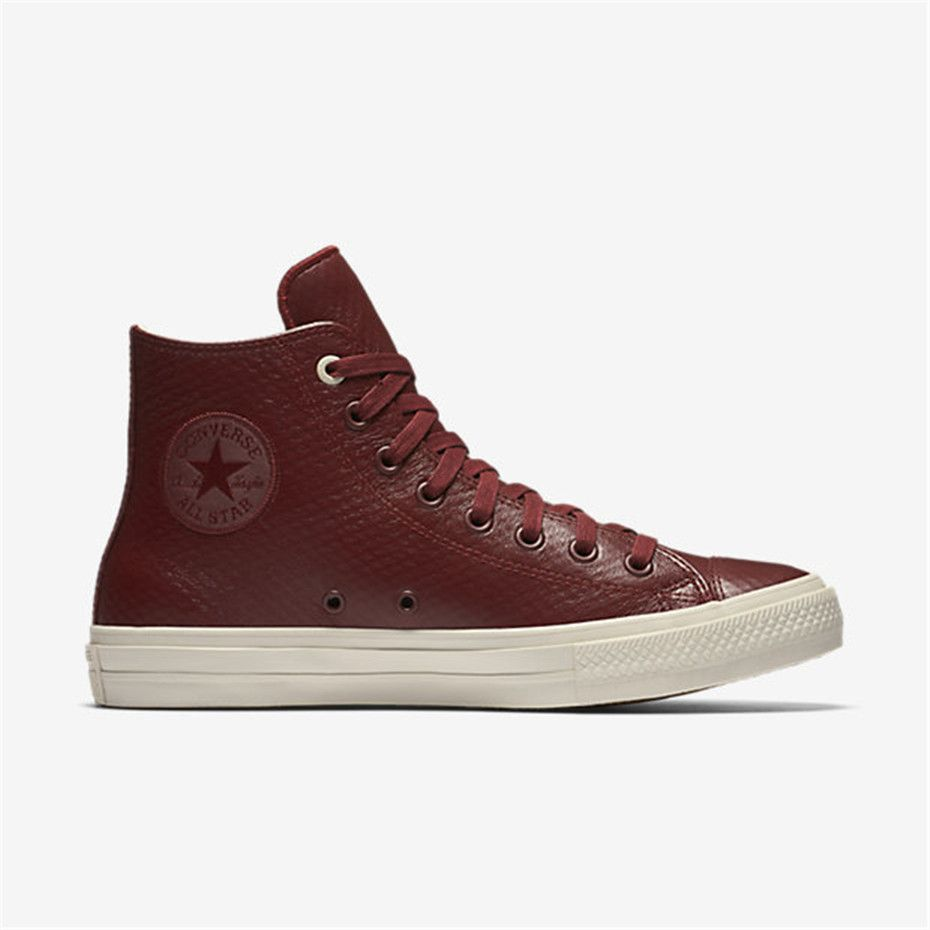 NIKE Converse Chuck II Mesh Backed Leather High Top (Dark Red)