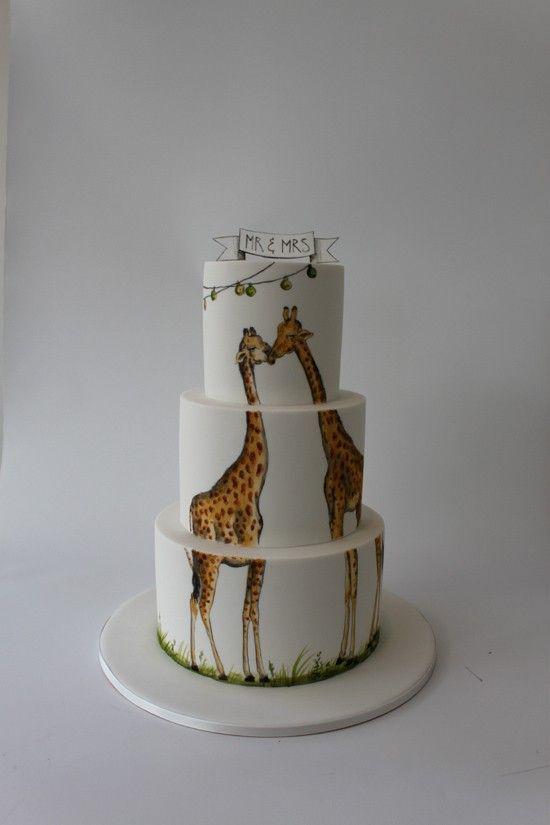 Summer Wedding cake with painted giraffes
