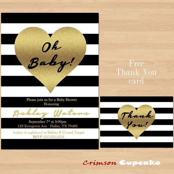 black and white striped with gold heart oh baby girl or boy baby, Baby shower invitations