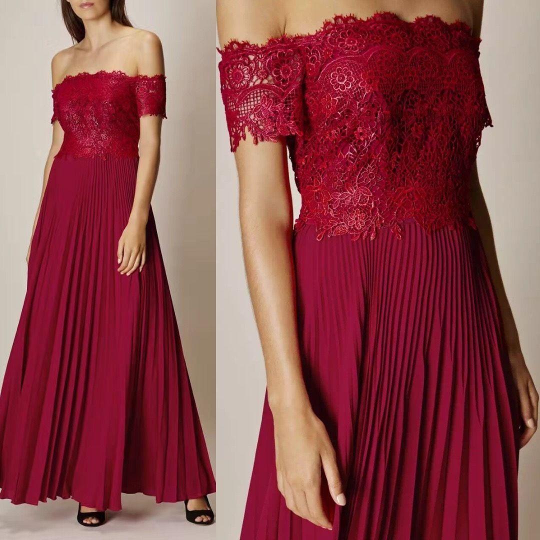 Karen millen lace u pleats dress red elegant evening gown prom us