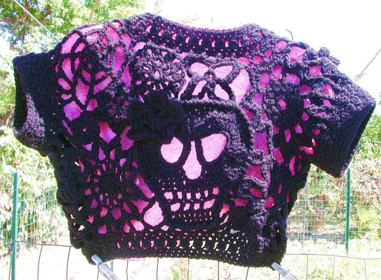 Day Of The Dead Or Halloween Hand Crochet Skull Bolero Shrug, Size M ...