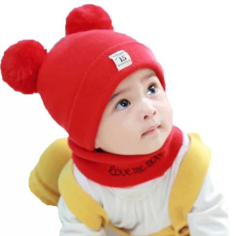 80f84dfac48 Newborn Kids Baby Boy Girl Pom Hat Winter Warm Knit Bobble Beanie Cap Scarf  Set  fashion  clothing  shoes  accessories  babytoddlerclothing   babyaccessories ...