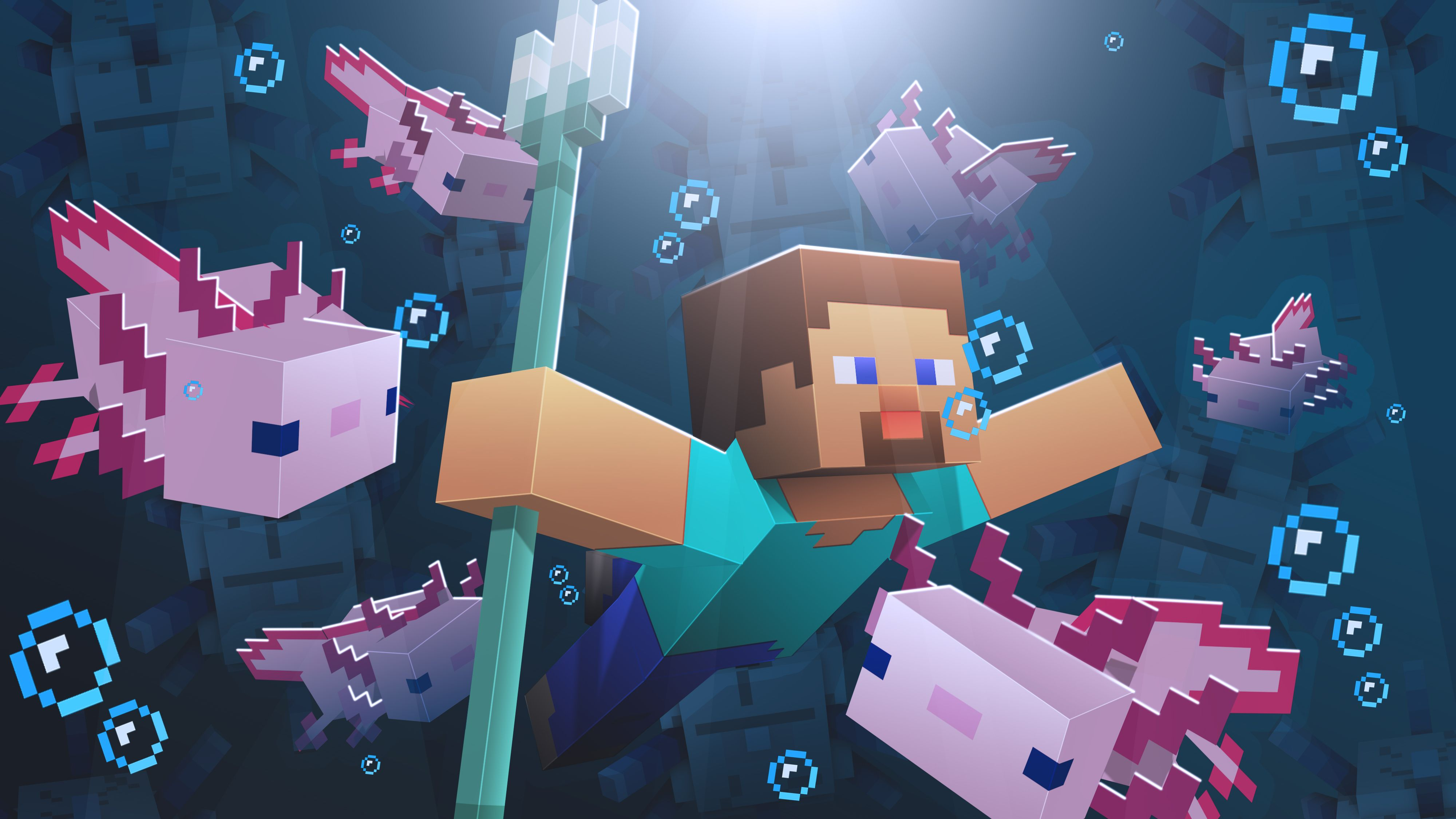 Minecraft Axolotl Awww By U Ky8to Minecraft Wallpaper Minecraft Pictures Minecraft Posters