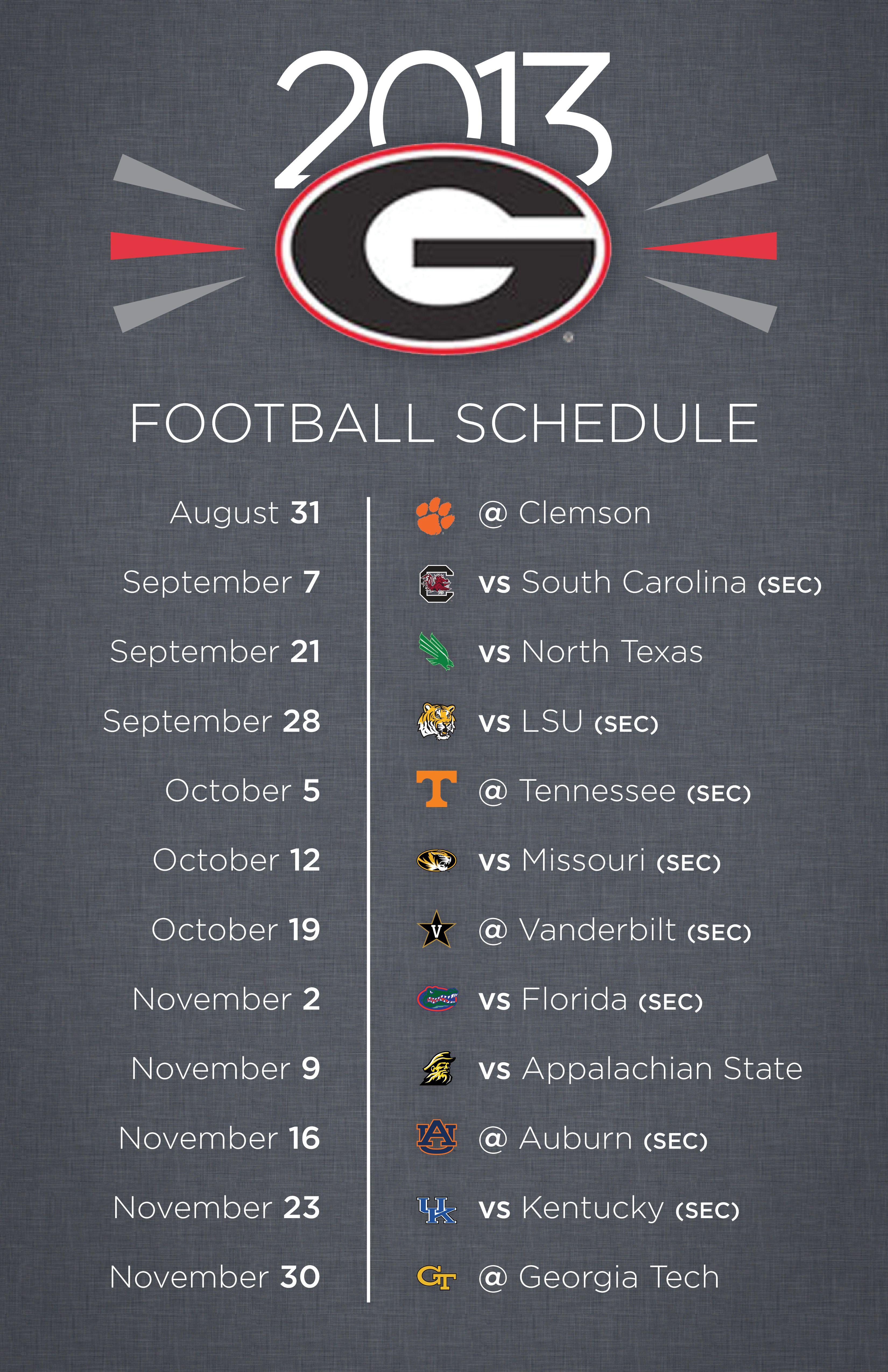 UGA 2013 Football Schedule GoDawgs GetAroundGA