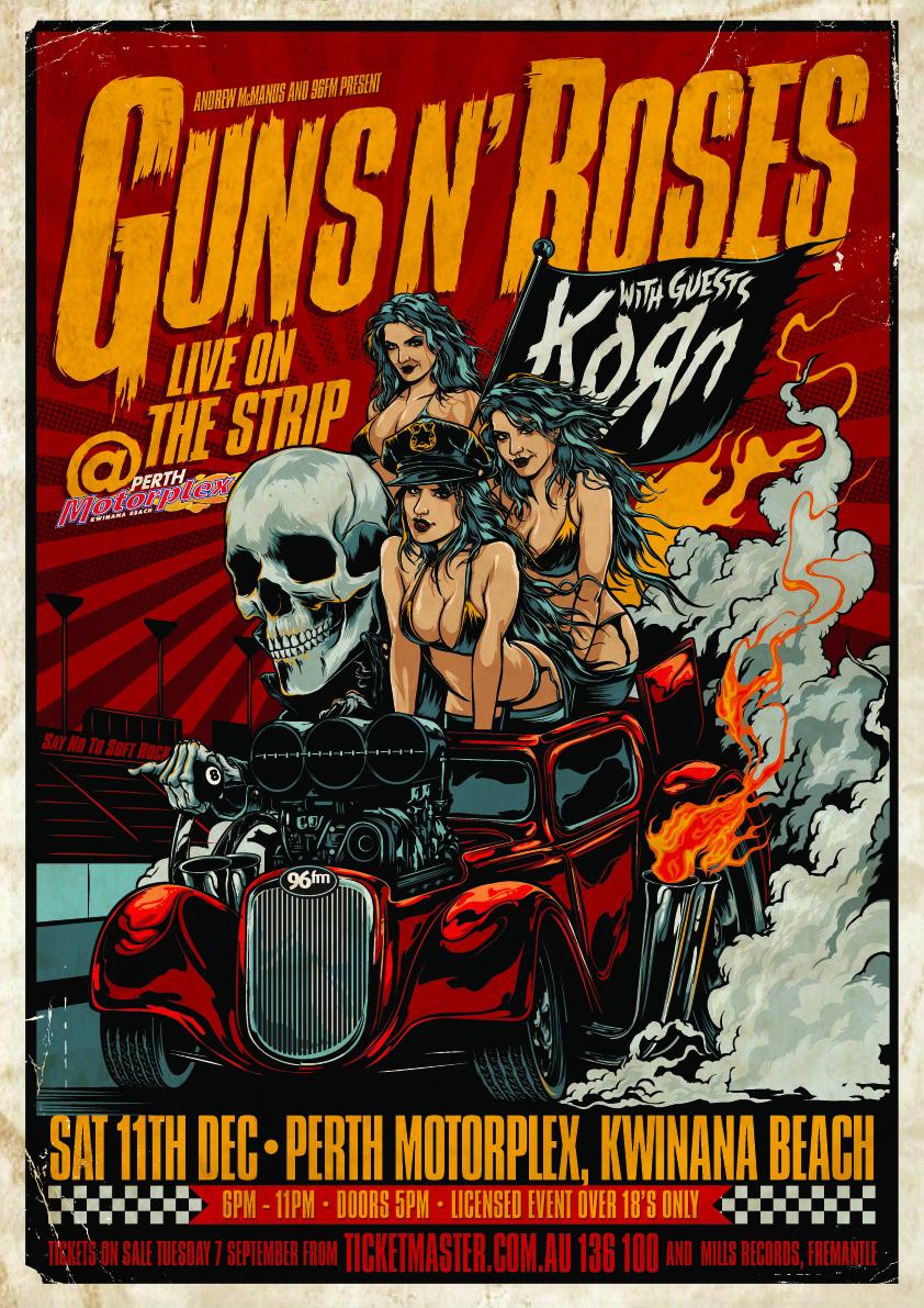 Guns N Roses Sampul Album Konser Ilustrasi