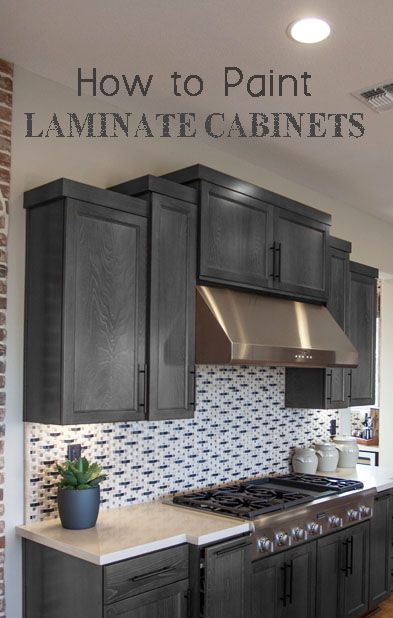 How to paint laminate cabinets pinterest paint for Kitchen cabinets that look like furniture