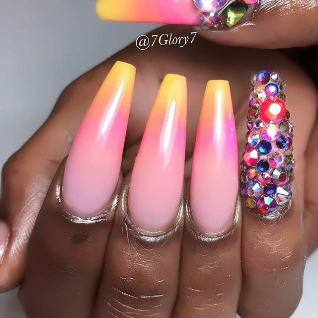 Long coffin nails with rainbow ombre design and bright ...