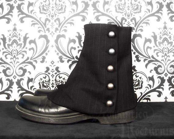 Victorian men's pinstripe spats by RomanticaNocturnis on