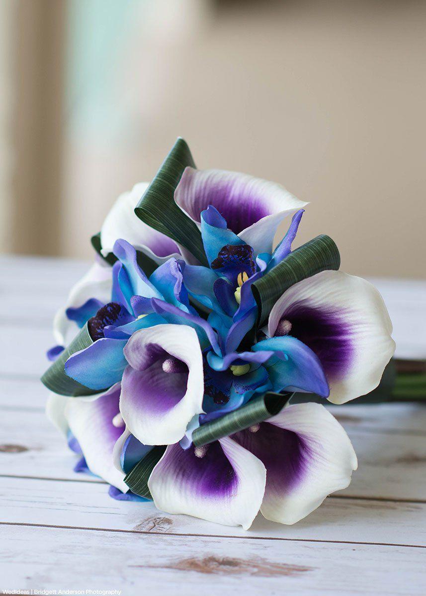 Cymbidium Orchid Silk Flower Spray In Blue 36 Tall With 10 Flowers In 2020 Silk Flowers Wedding Blue Wedding Bouquet Wedding Flowers