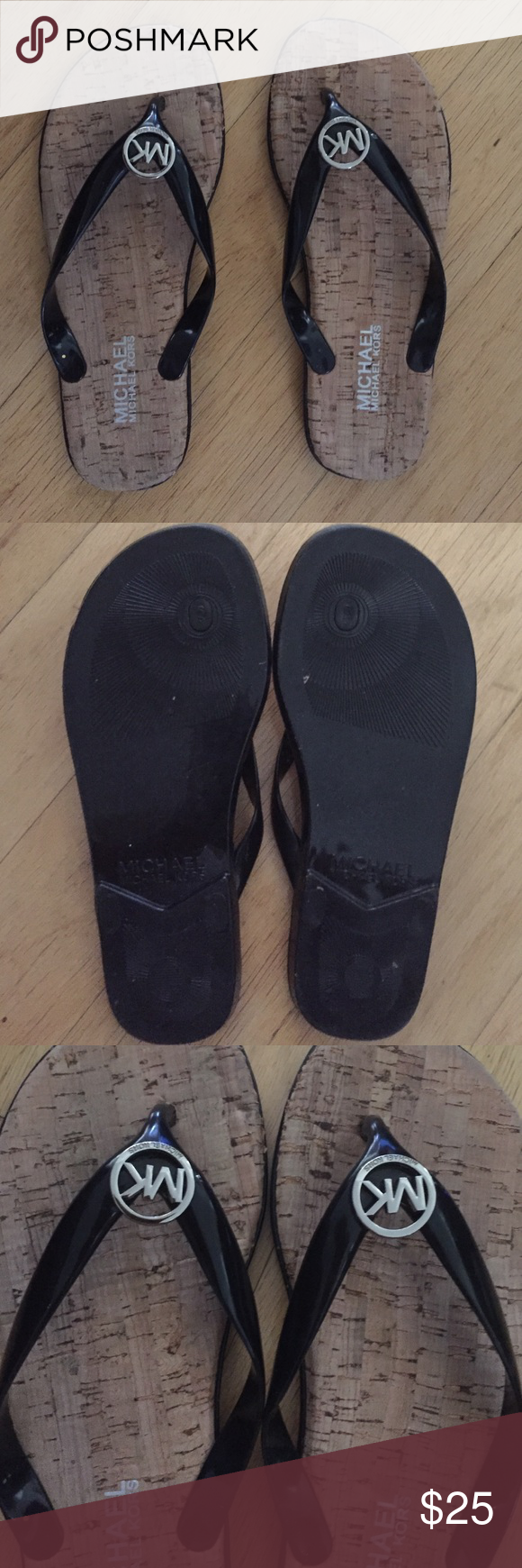 Michael kors size 6 sandals Worn 2x like new condition. Black patent black with silver MK hardware Michael Kors Shoes Sandals
