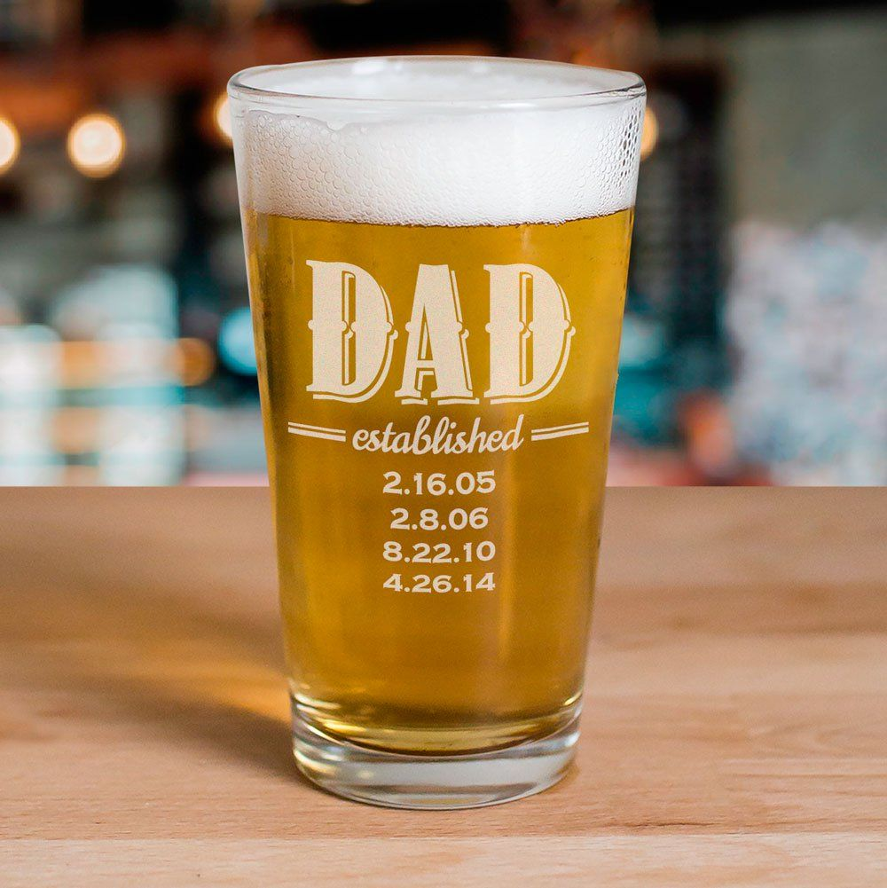 Engraved dad established beer glass personalized fathers