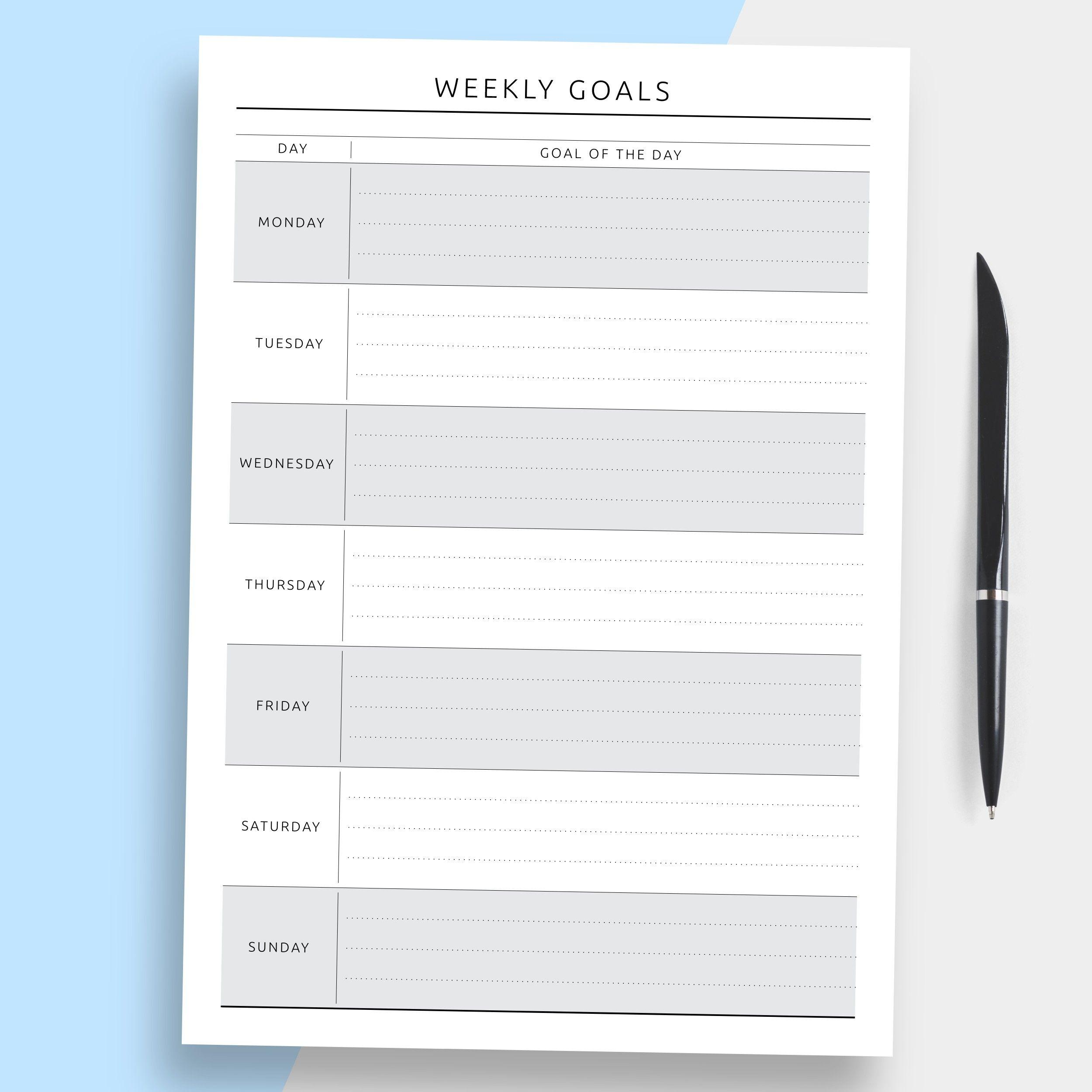 Printable Goal Planner Worksheet Goal Setting Planner Self Improvement Journal Insert Goal Planner Printable Goals Planner Goal Planning Worksheet