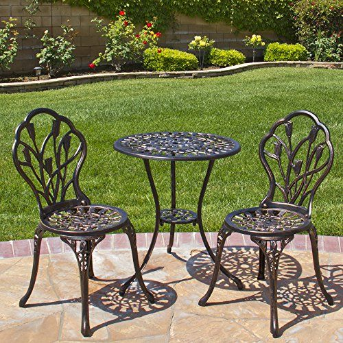 Outdoor Patio Furniture Tulip Design Cast Aluminum Bistro Set In Antique Copper Vintage