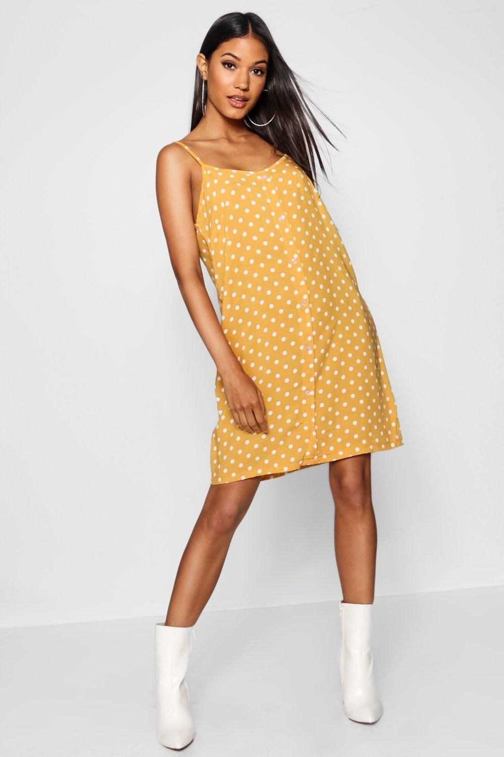 5c45c799c78d Click here to find out about the Polka Dot Button Through Cami Mini Dress  from Boohoo