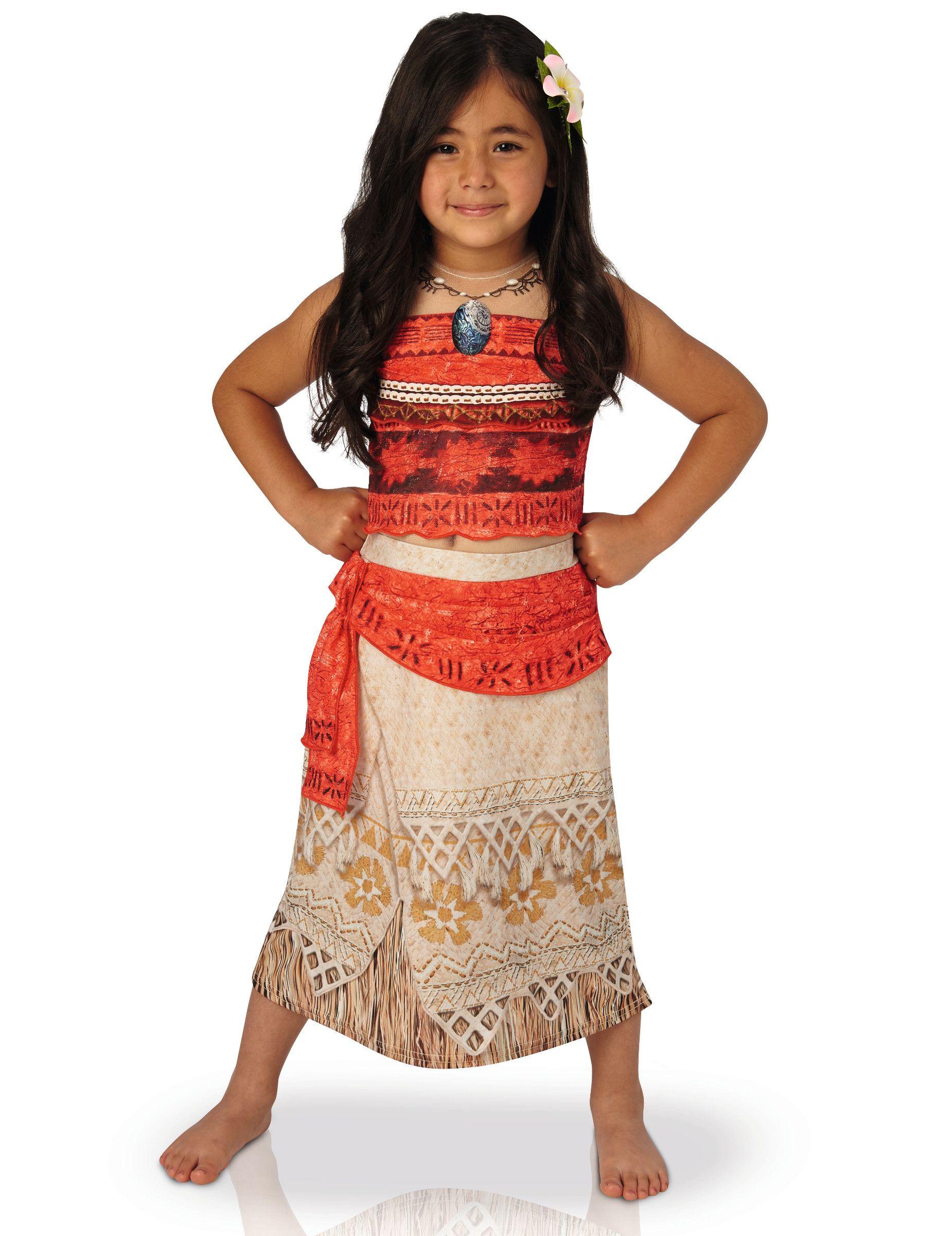 Girls Moana Costume Kids Disney Princess Fancy Dress Fairytale Licensed Dressup