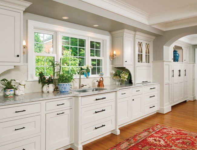 These Painted Kitchen Cabinets Are Finished In Balboa Mist From Benjamin Moore