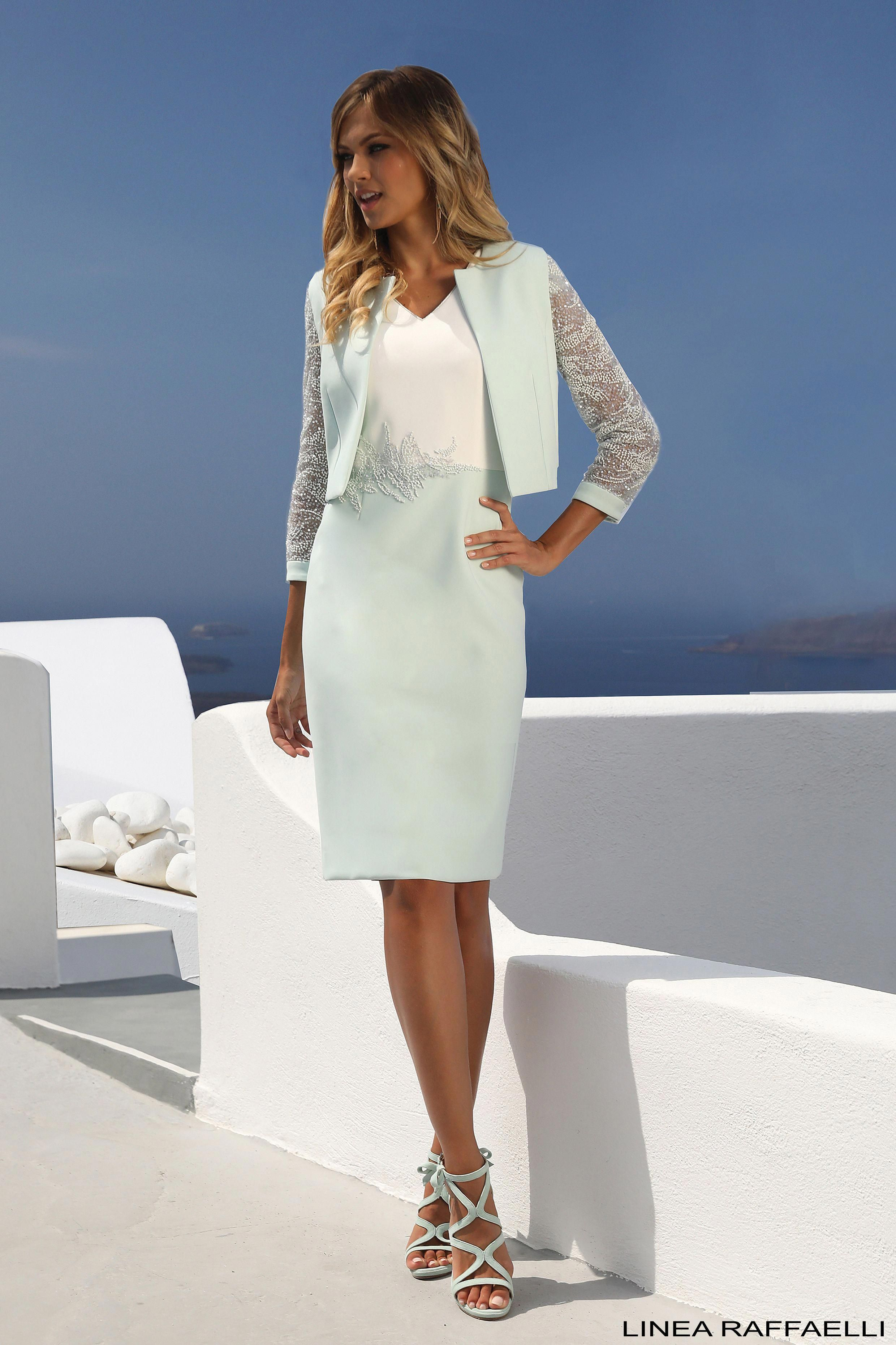 c27df6c222fbf9 Short dress & matching jacket with lace sleeves worn with mint strappy  heels from our Linea Raffaelli Shoes collection #LineaRaffaelli ...