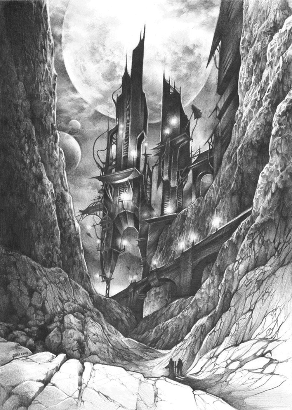 Original fantasy illustration by katarzyna kmiecik original pencil drawing futuristic art imaginary world future architecture realism