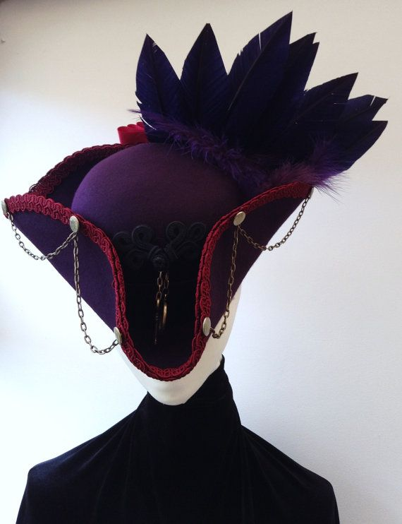 The purple Barnabus steampunk cockade tricorn hat