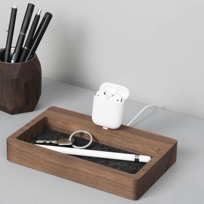 Walnut - iPhone dock organizer