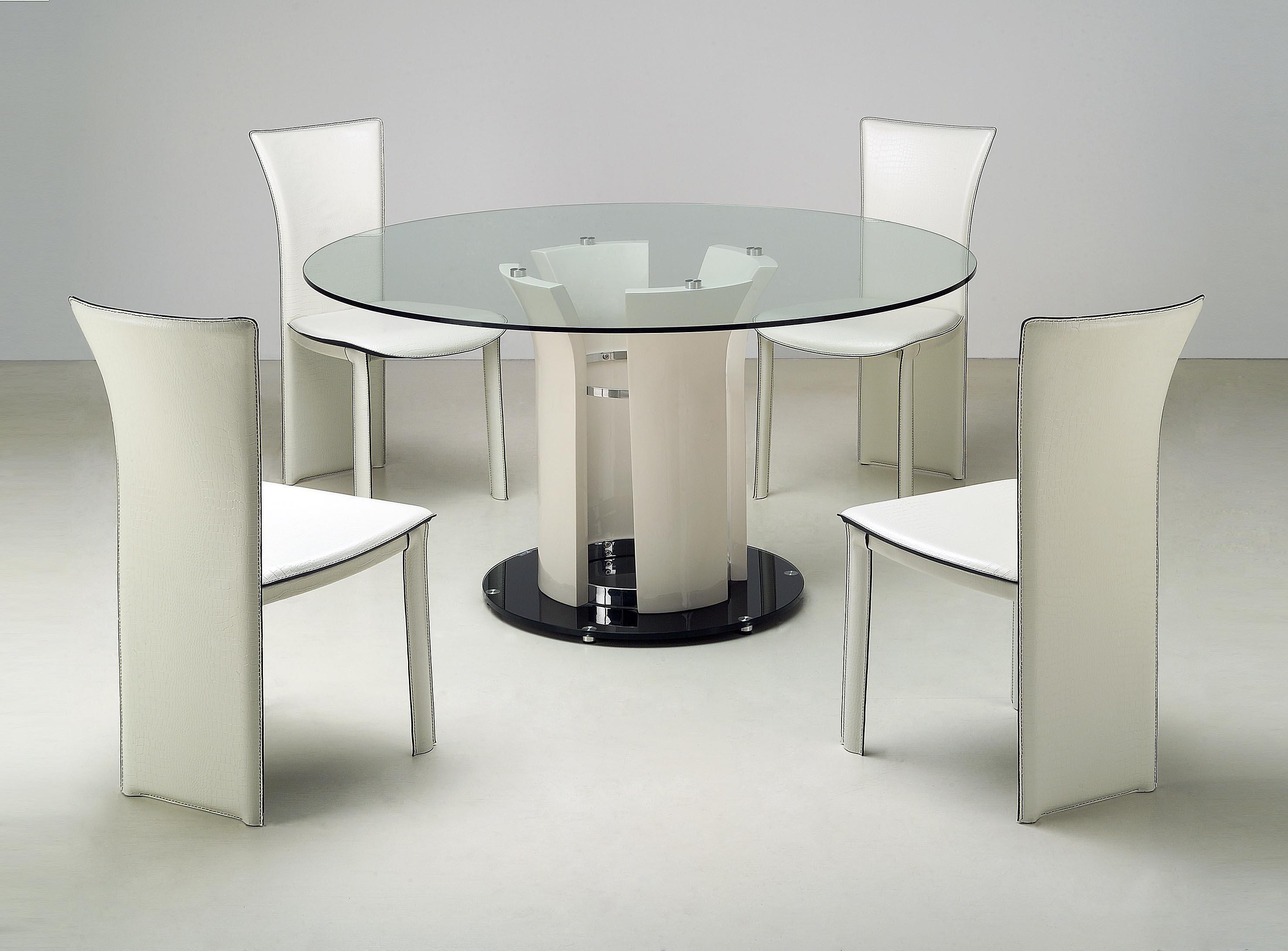 Deborah Deborah 5 Piece Dining Set By Chintaly Imports Glass Round Dining Table Modern Round Dining Room Table Glass Dining Room Table