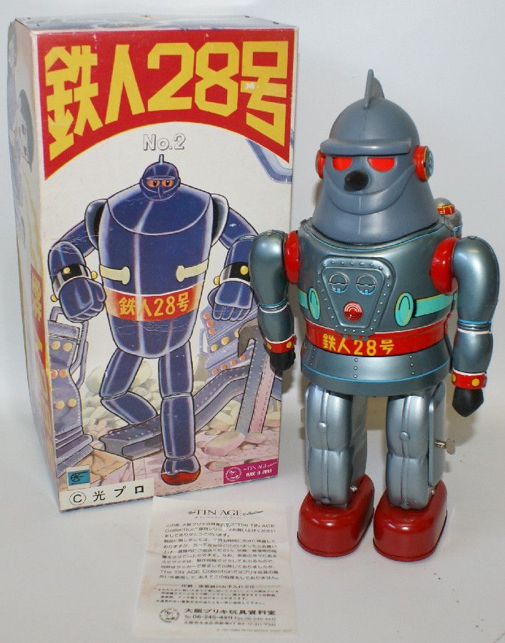 1990 TETSUJIN Gigantor Ironman 28 Tin B.O. Robot Super Hero in Box - Osaka, Japan