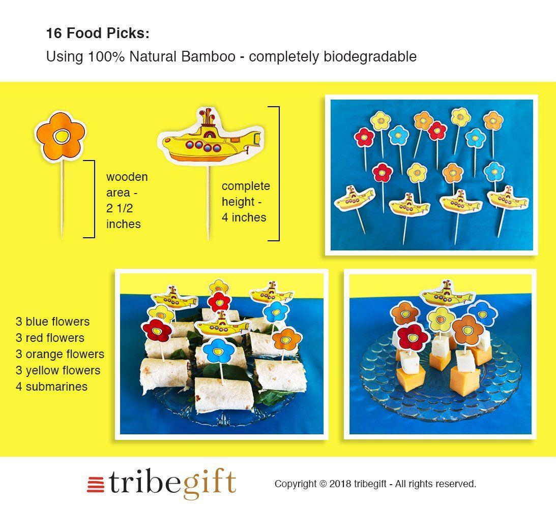 Yellow Submarine Birthday Party 16 Food Picks Flower Power