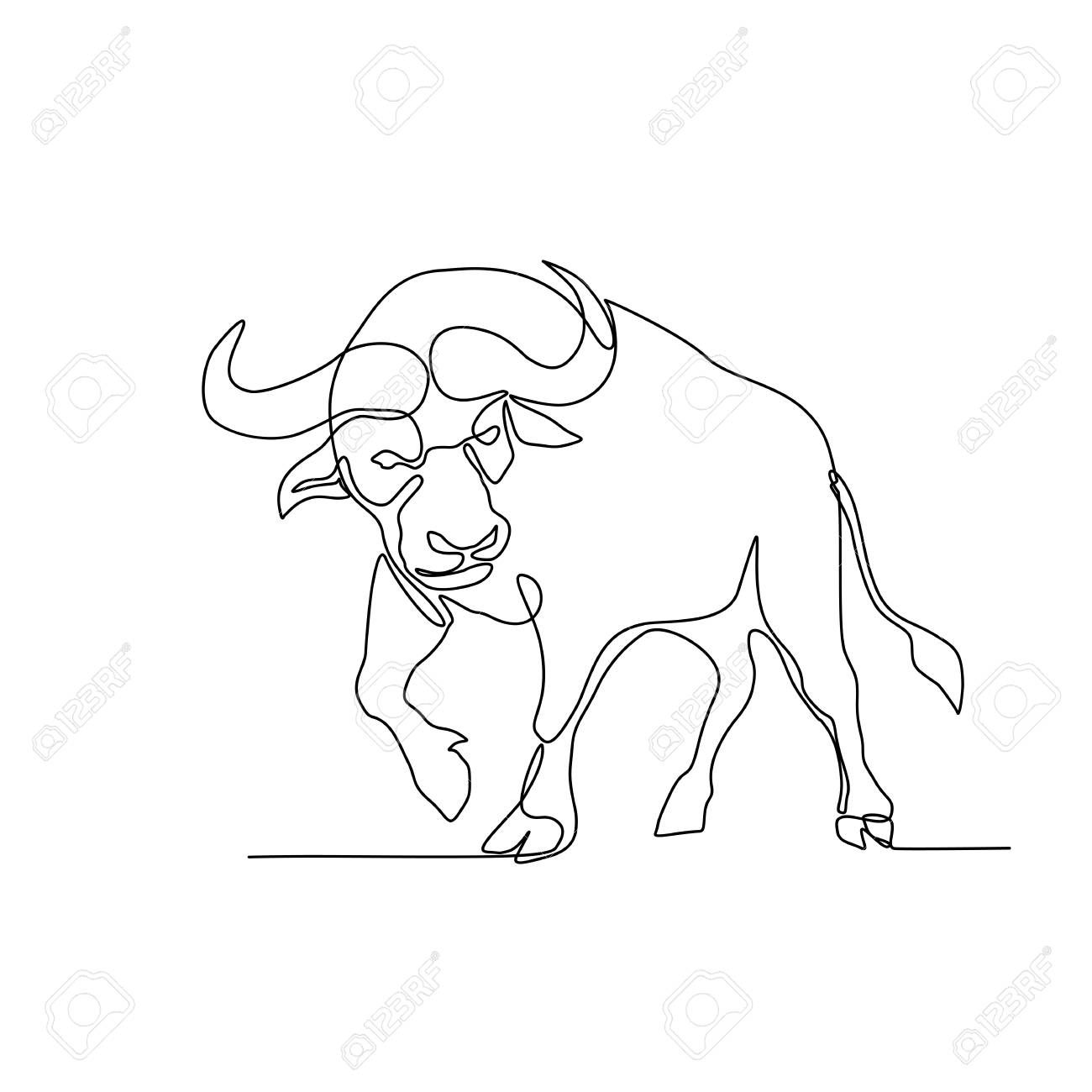 Continuous Line Illustration Of An African Buffalo Or Cape Buffalo A Large African Bovine About To Charge Line Art Drawings African Buffalo Line Illustration