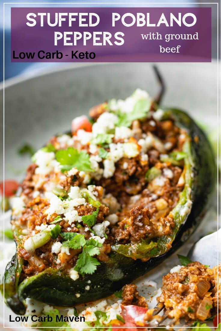 Stuffed Poblano Peppers with Mexican Ground Beef