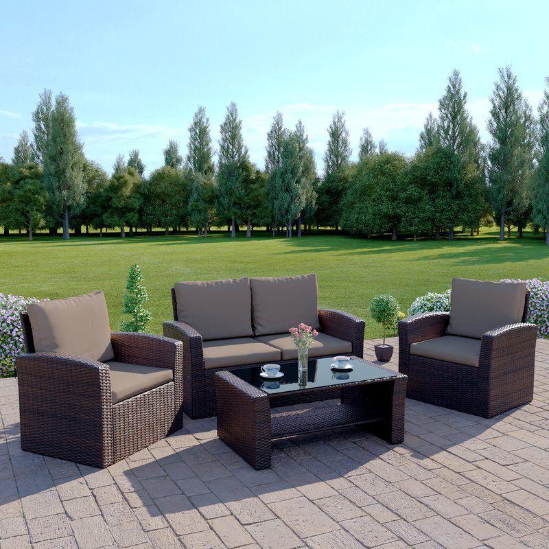 Sol 72 Outdoor Lantremange 4 Seater Rattan Sofa Set Reviews Wayfair Co Uk With Images Garden Sofa Set Garden Sofa Rattan Garden Furniture