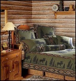 Lodge Cabin Log Cabin Themed Bedroom Decorating Ideas Moose Fishing Camping