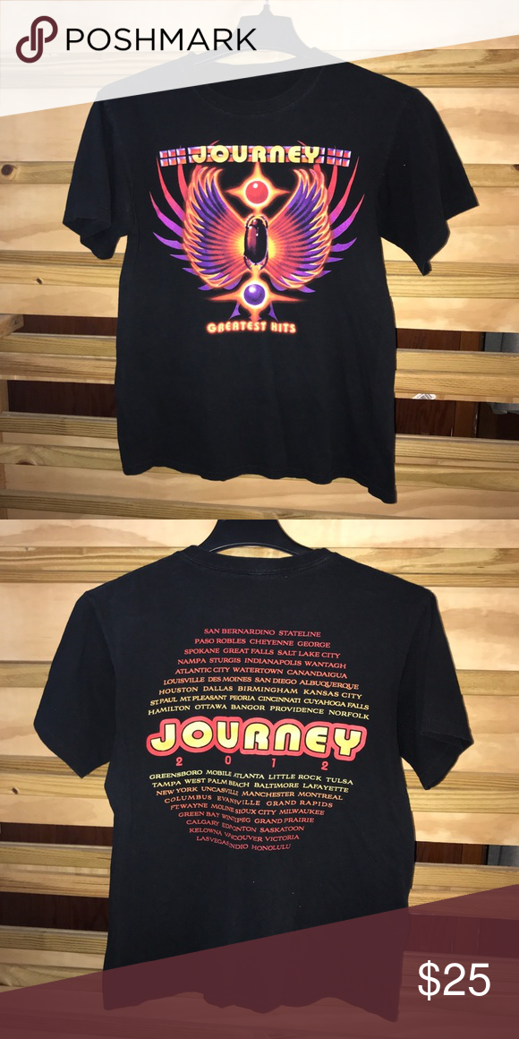 66bbe757d0d76a Journey Greatest Hits Tee Journey Greatest Hits Tee with fire screen  graphics in fantastic condition. Very 90's feel to this awesome band tee!! Shirts  Tees ...