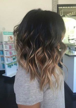 Asymmetrical,Wavy,Lob,Hairstyle,High,Contrast,Balayage,Highlights