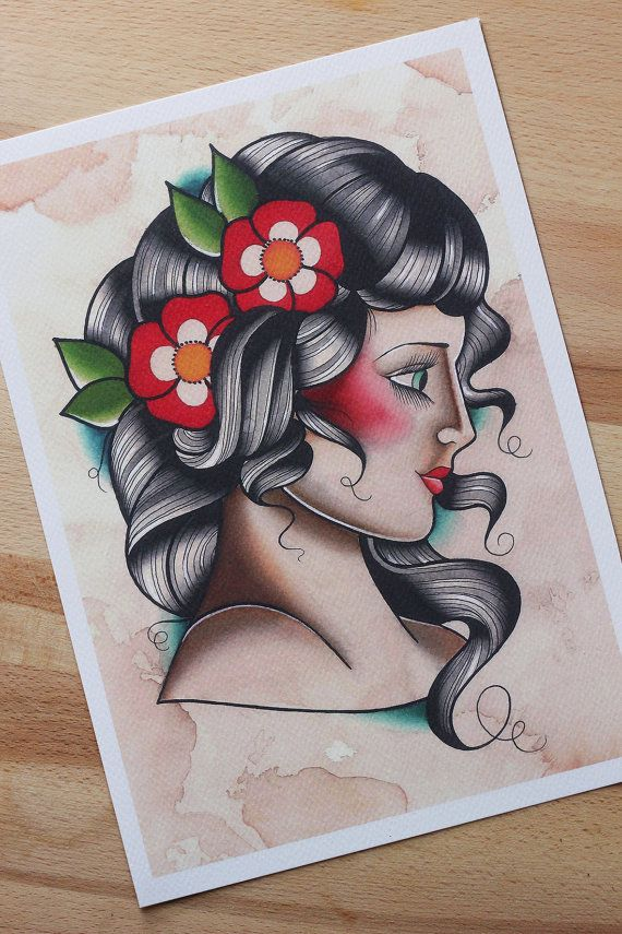 Stampa donna old school formato a4 pin up di for Old school pin up tattoos