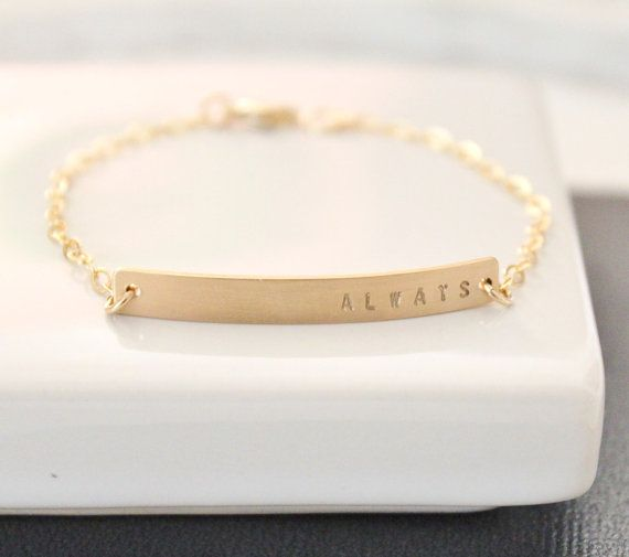 Dainty Gold Nameplate Bracelet Bar Personalized Hand Stamped Customized Id