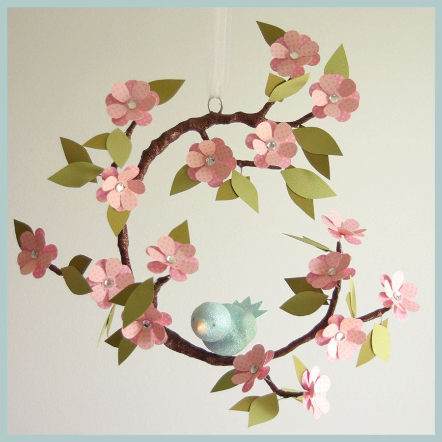Tree limb and bird mobile baby mobile nursery mobile for Bird mobiles for nursery