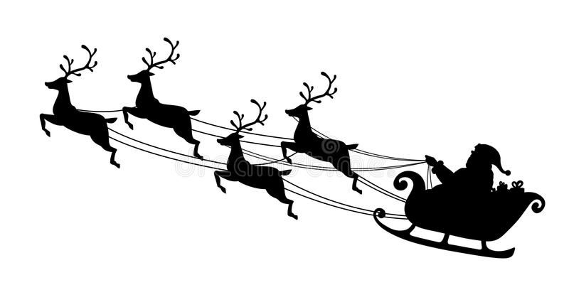 Santa Claus Flying With Reindeer Sleigh Black Silhouette Symbol Of Christmas And New Year Isolate Reindeer And Sleigh Santa Sleigh Silhouette Flying Reindeer