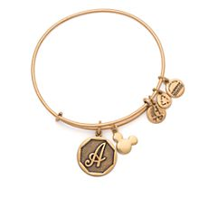 Mickey Mouse Icon and Initial Bangle by Alex and Ani - Gold