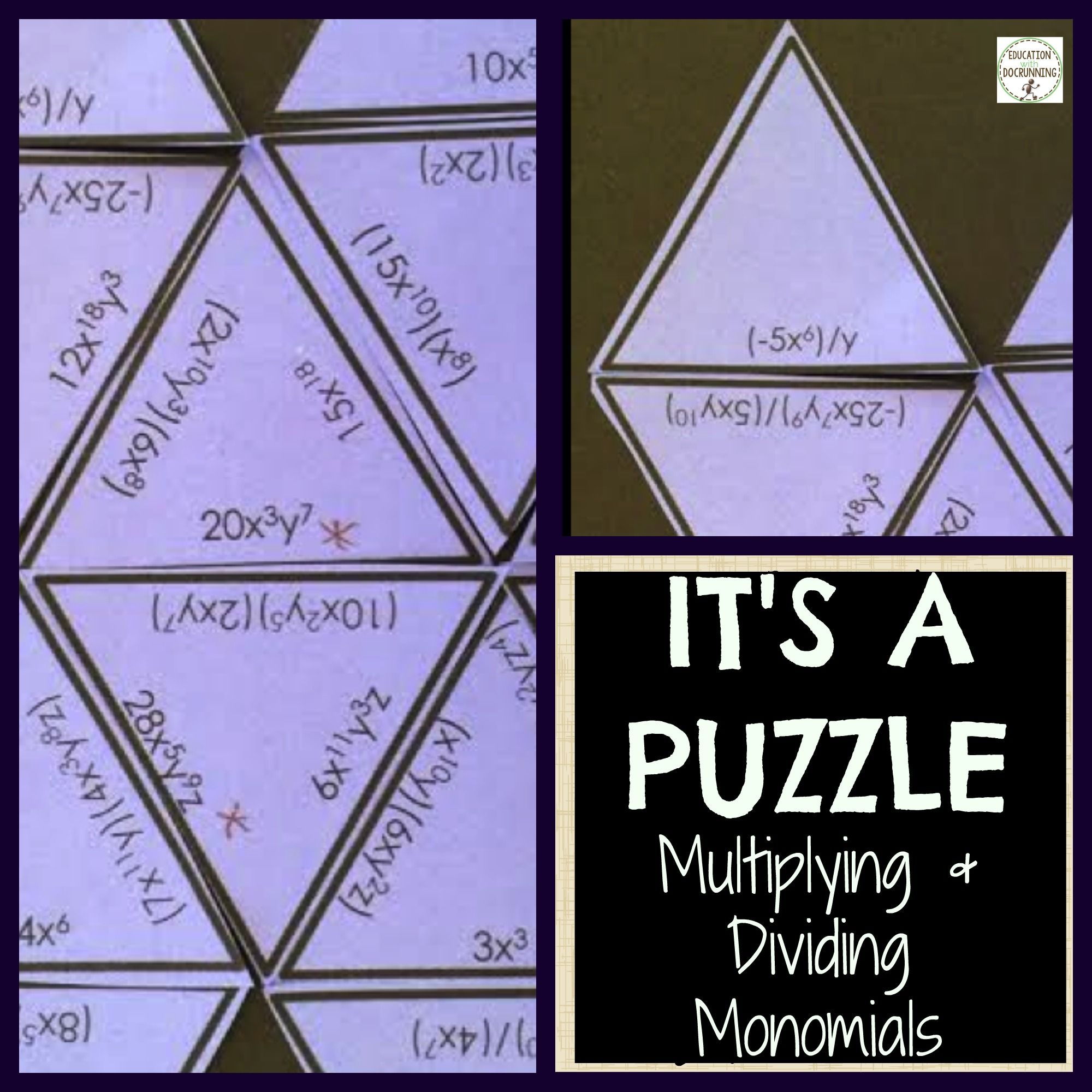 Monomials Activity Puzzle Multiplying And Dividing
