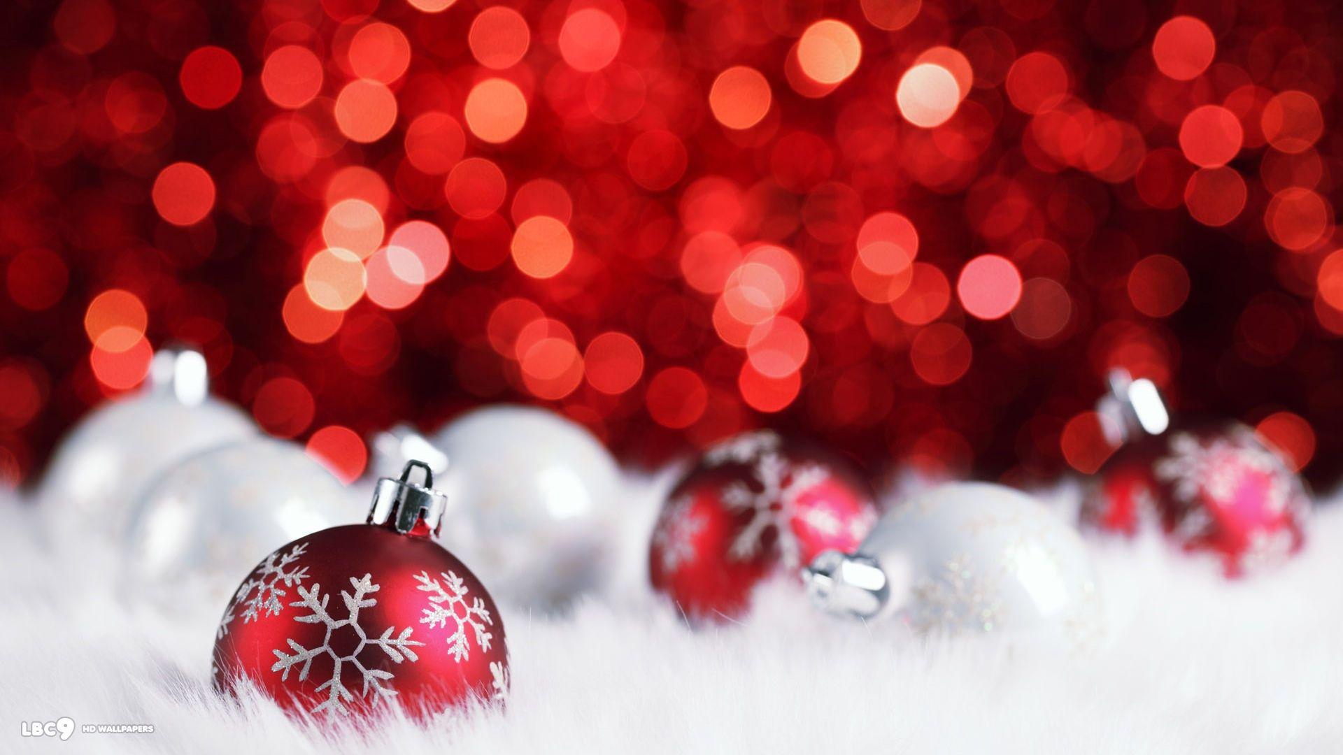 red silver christmas balls decorations bokeh holiday desktop