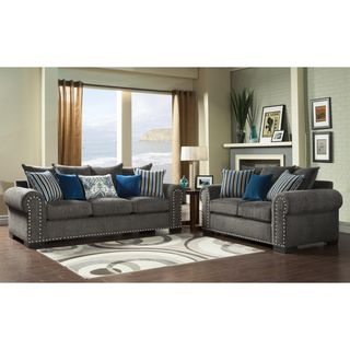 furniture of america ivy grey blue modern 2 piece sofa love set by furniture of america - Blue Living Room Set