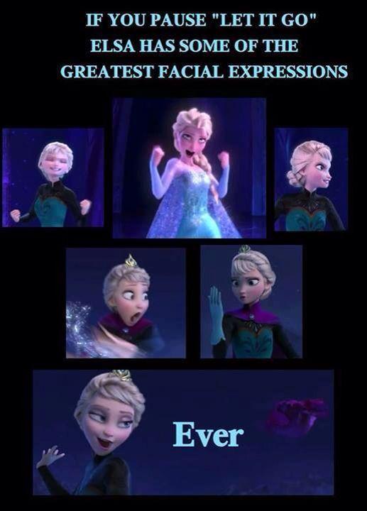 elsa made the best faces during let it go frozen meme let it