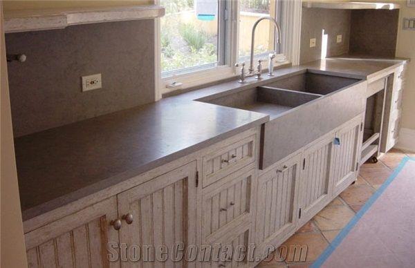 Gray Soapstone Kitchen Top Sink