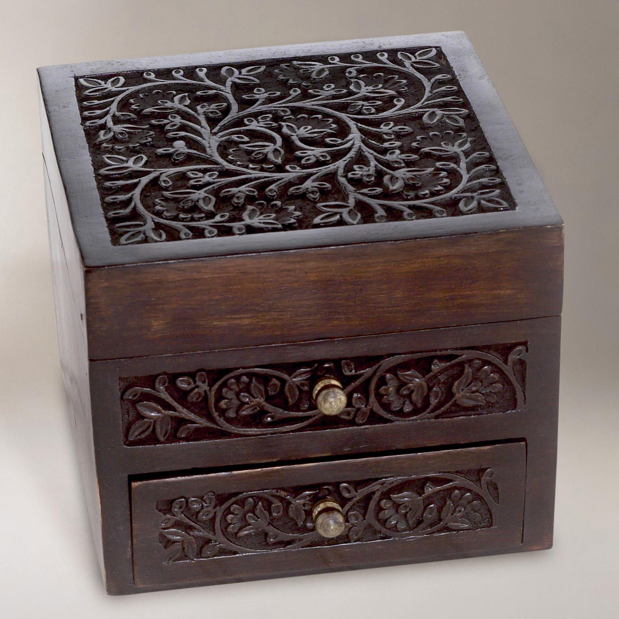 World Market Jewelry Box Impressive Malini Carved Wood Jewelry Boxmalini Carved Wood Jewelry Box Inspiration Design