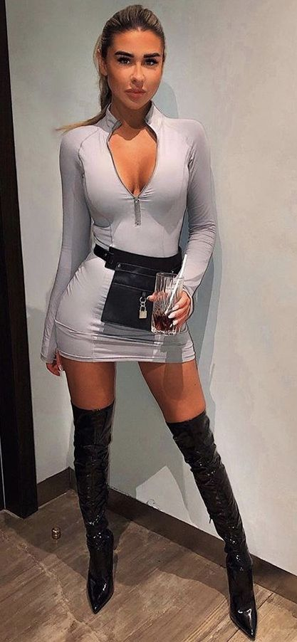 Knee Boots Outfit With Mini Skirt