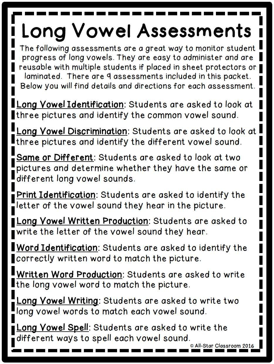 Workbooks long vowel digraphs worksheets : Long Vowel Assessments | Long vowels, Stars classroom and Students