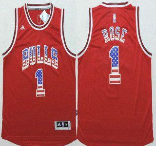 Chicago Bulls Jersey 1 Derrick Rose Revolution 30 Swingman 2014 USA Flag  Fashion Red Jerseys